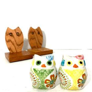 Vintage OWL Bookends And Salt & Pepper Set